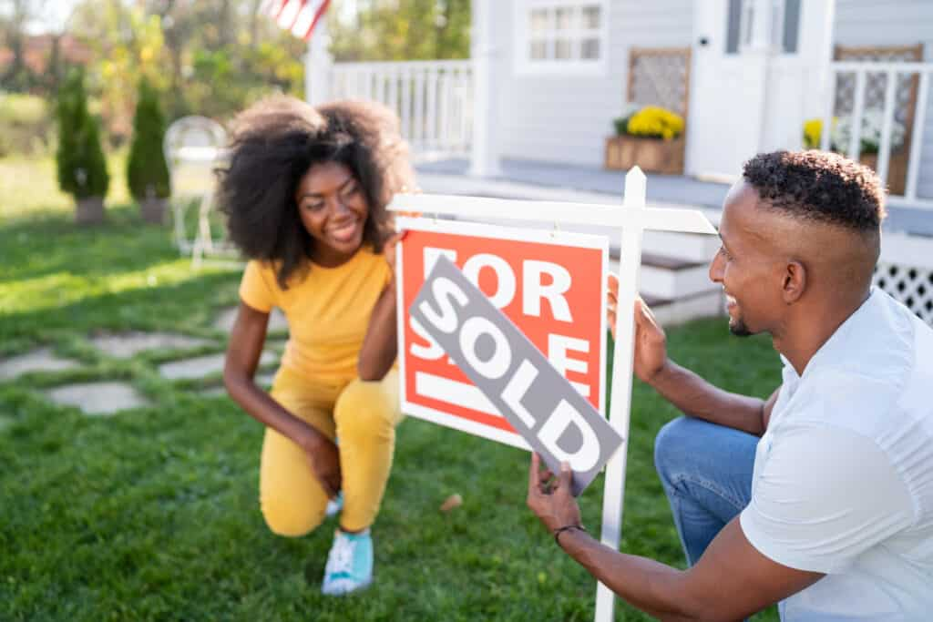 Young couple buying a new house