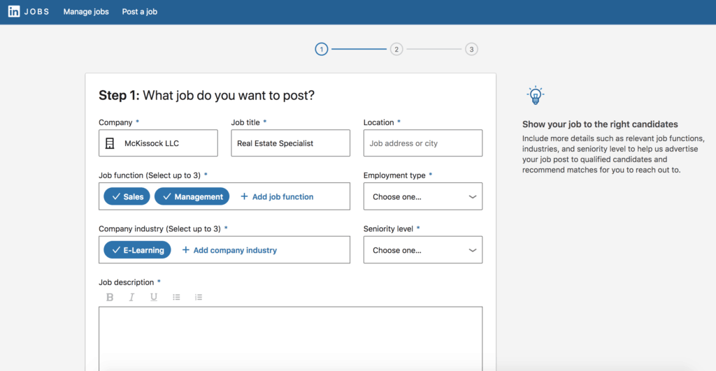 LinkedIn job posting screen capture