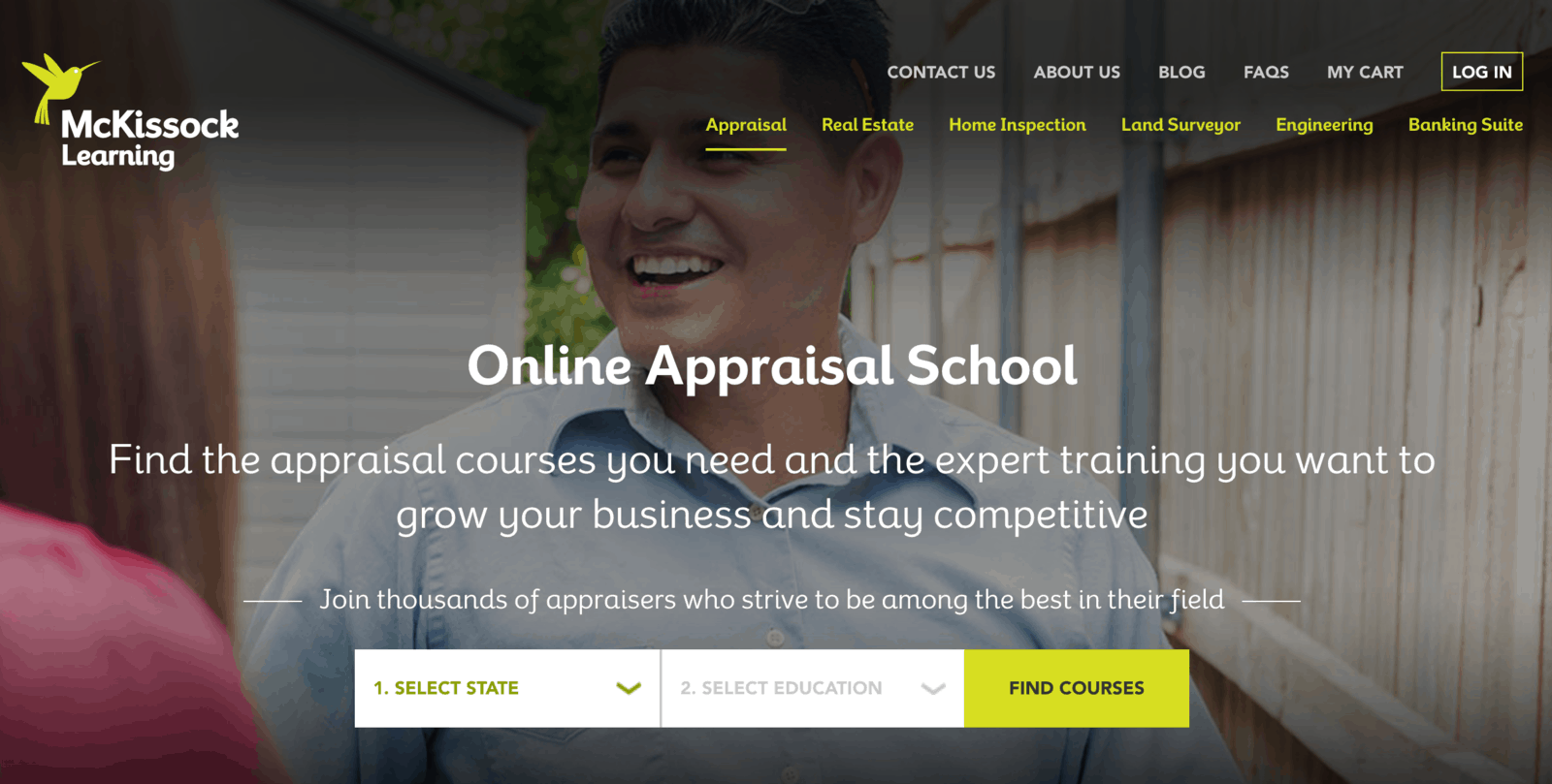 Home page of McKissock Learning's online appraisal school, where users can search for courses by state
