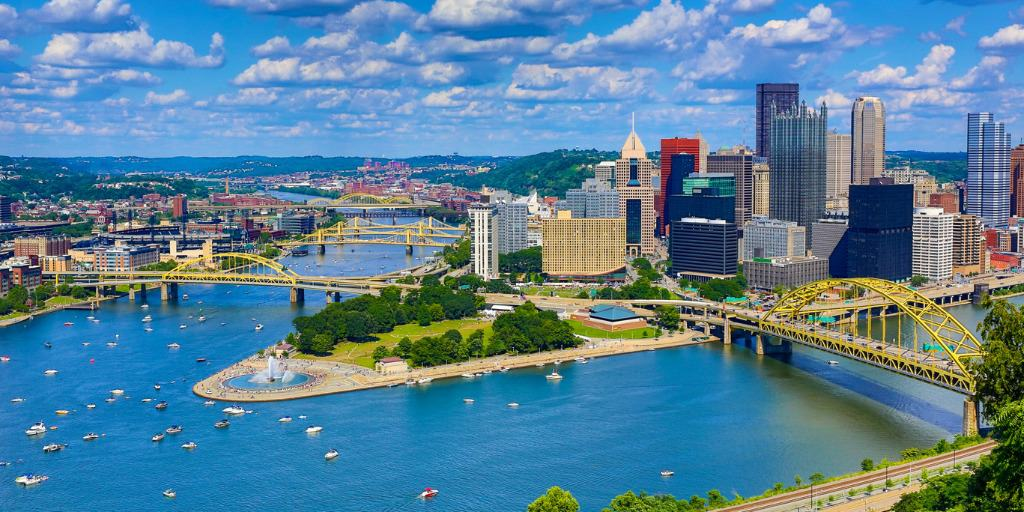 pittsburgh skyline aerial view