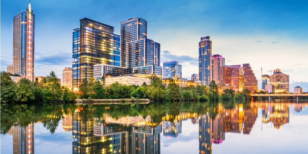 austin, texas skyline over river