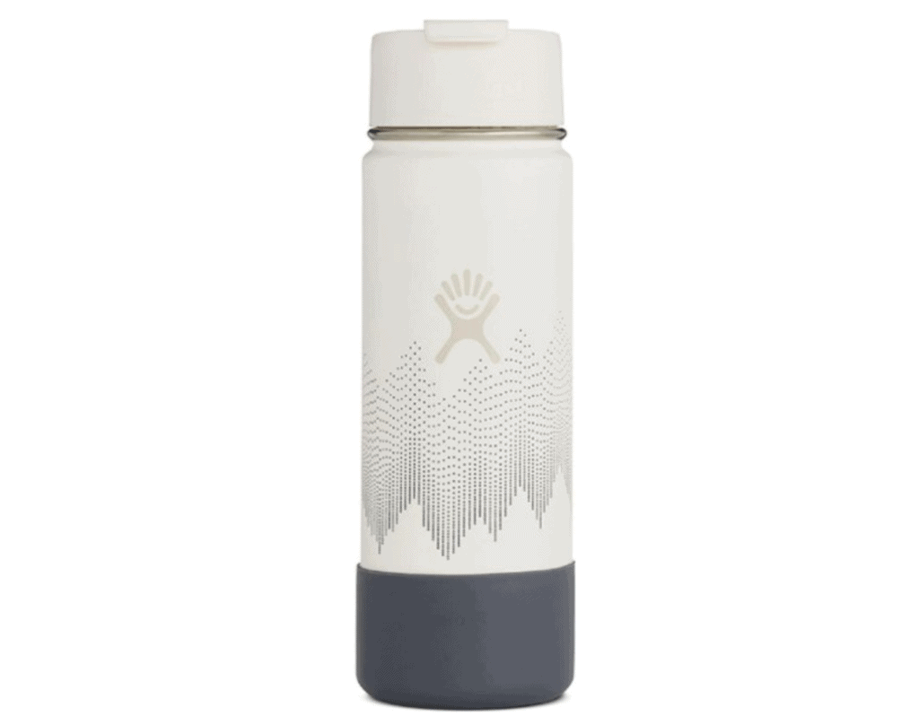 Hydro Flask 20 ounce coffee flask with modern design inspired by snowy mountain peaks