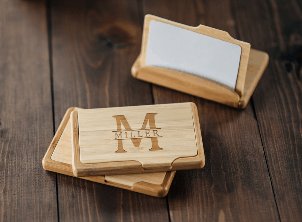 Wooden business card holder with personalized engraving