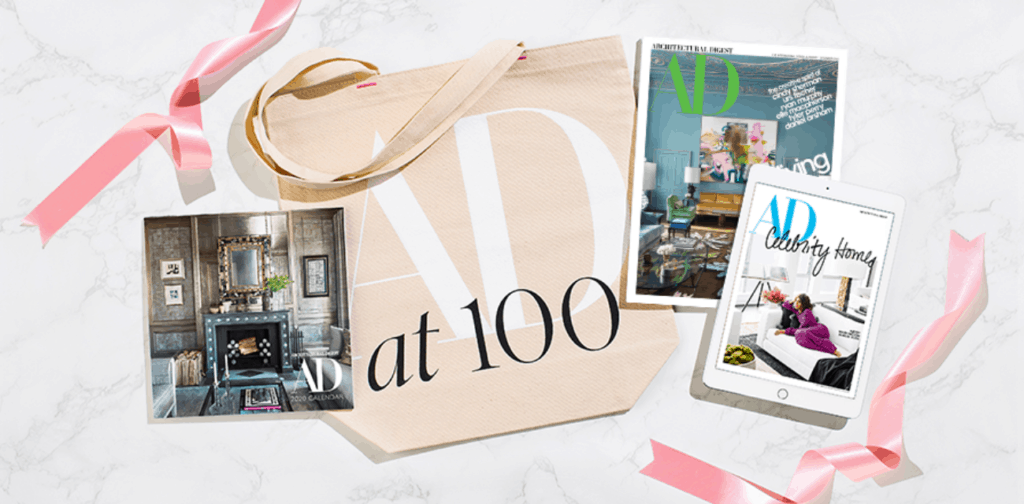 Architectural Digest gift subscription set showing print magazine, digital magazine, and reusable shopping bag