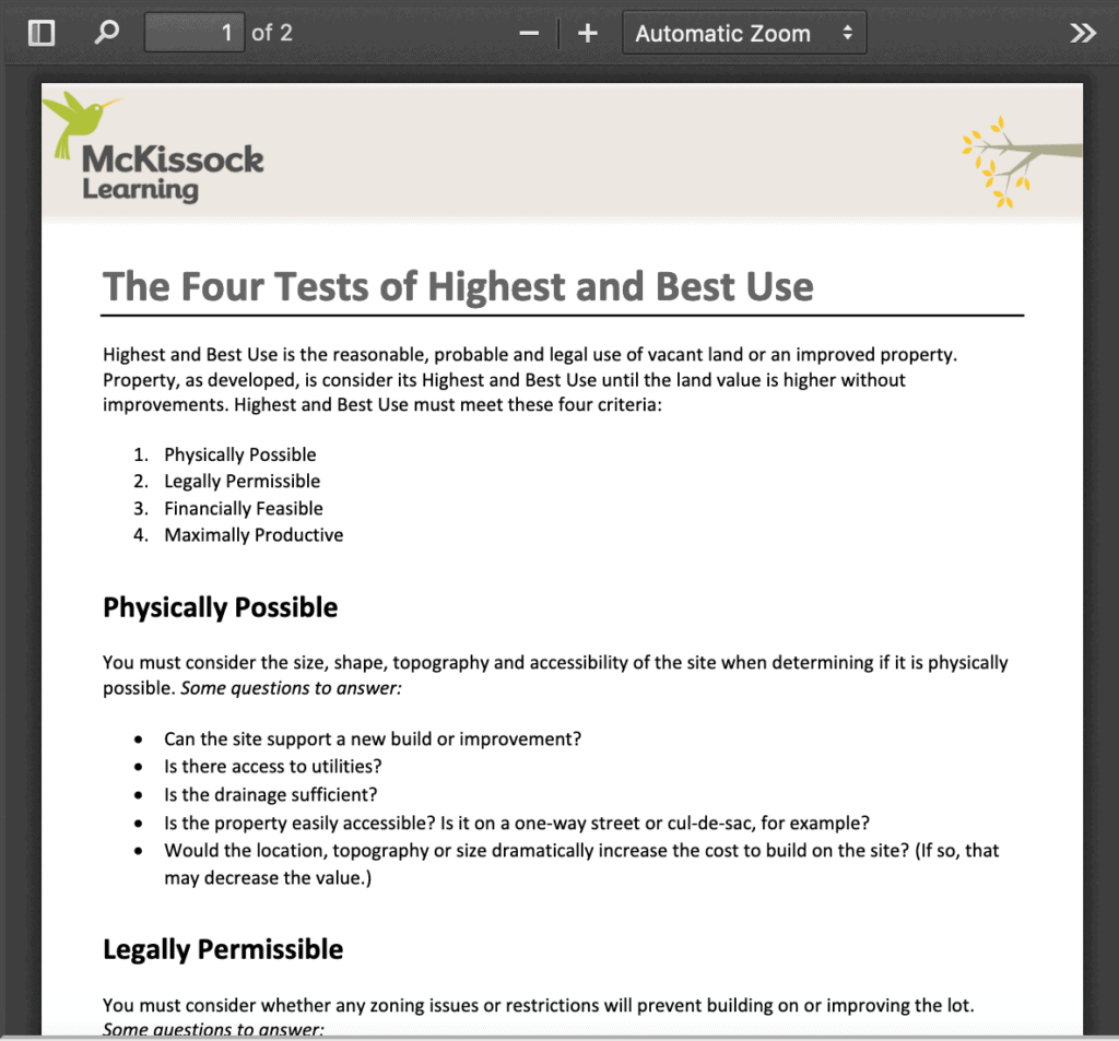 Checklist: The Four Tests of Highest and Best Use