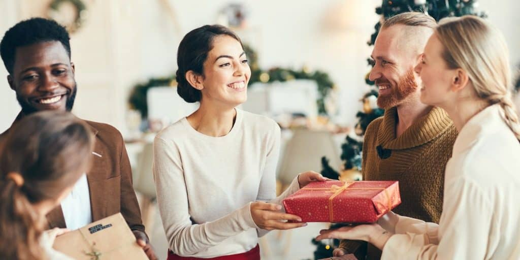real estate agent receiving holiday gift