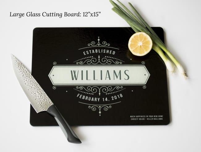 glass cutting board customized closing gift