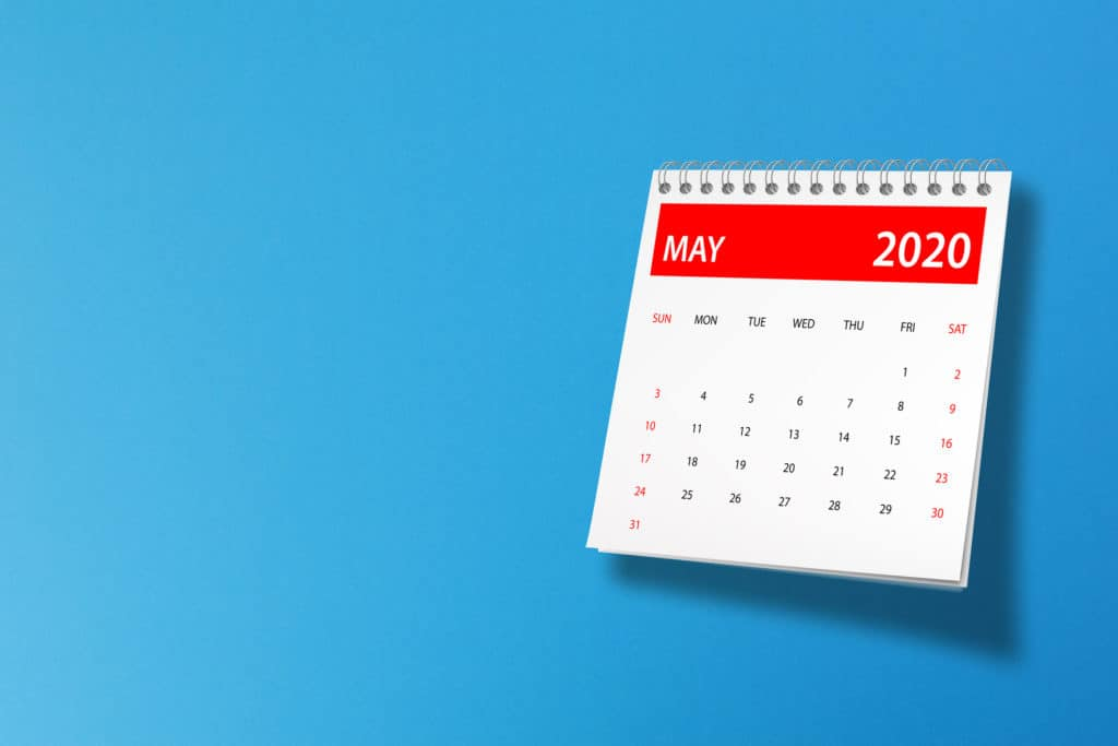 May 2020 calendar on blue background